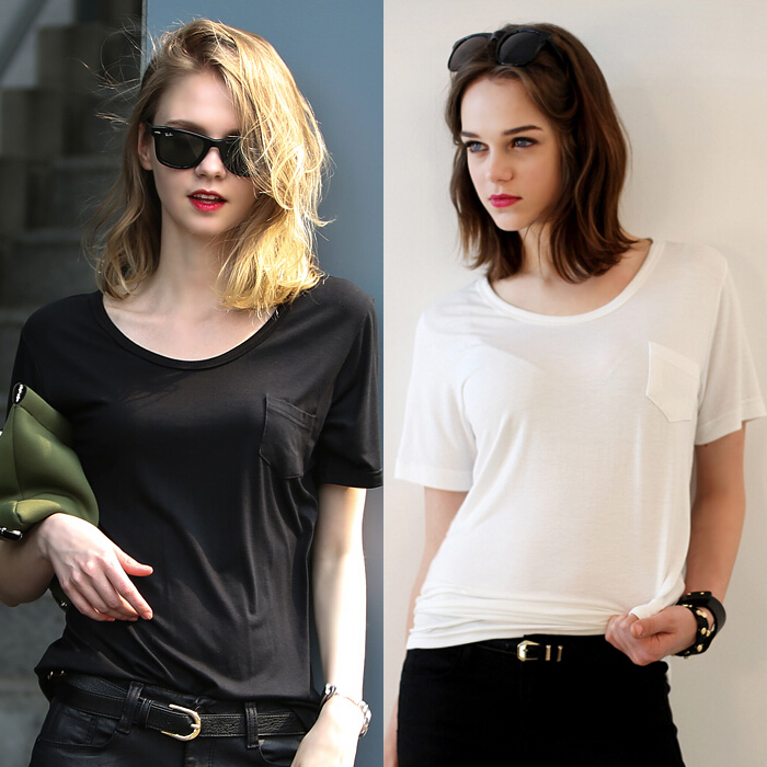 Large size women short-sleeved summer shirt pocket modal cotton round neck short-sleeve loose female t-shirt