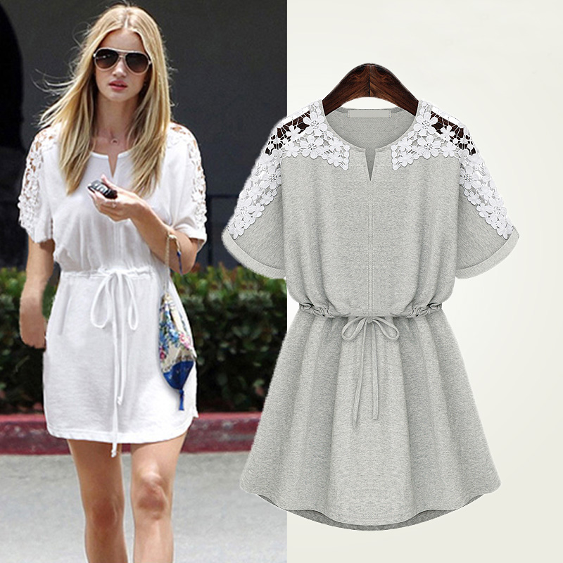 f71c20fcc8b Large Size Women s 200 Pounds Of Fat Mm Loose Was Thin Fertilizer To  Increase Short-sleeved Lace Dress