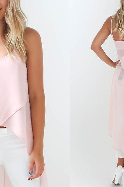 Pink Chiffon High-Low Spaghetti Strap Top