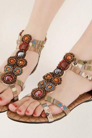 Beaded and Gemstone Embellished Gladiator Sandals