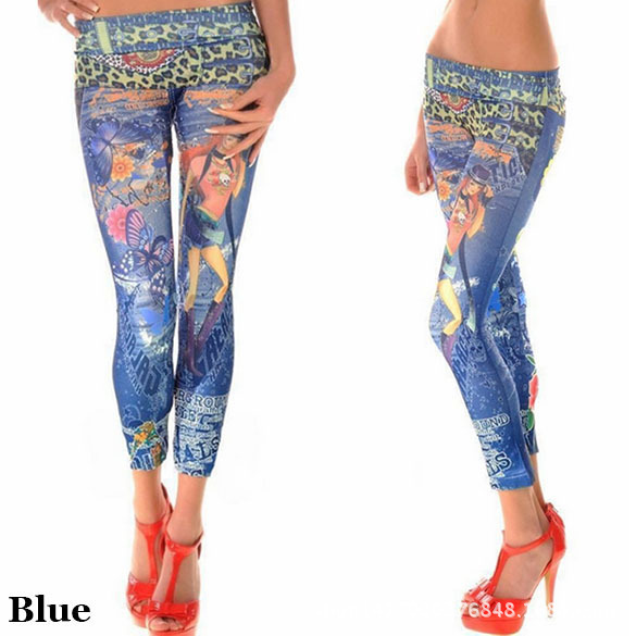 Stained Seamless Of Imitation Denim Leggings feet pants