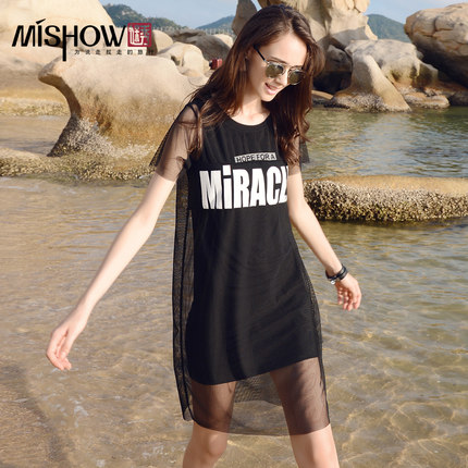 Summer solid color letters printed thin loose casual short-sleeved T-shirt dress long section of the T-shirt female summer